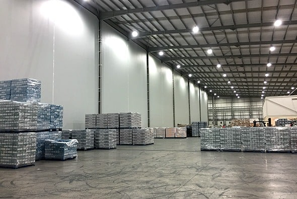 Full height thermal insulated partition wall installed in an industrial environment by McGregor Fabric Structures
